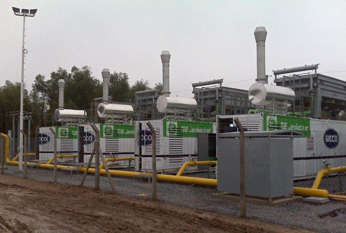 Cuatro de los generadores eléctricos a gas metano recién instalados en el CEAMSE.